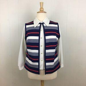Vintage 70's Striped Vest & Button Down Shirt Set